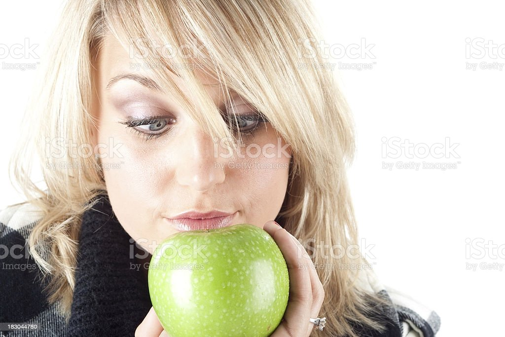 Woman with a Fresh green apple royalty-free stock photo