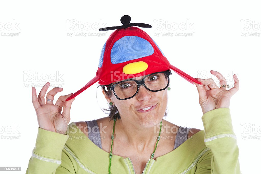 Woman with a funny hat stock photo