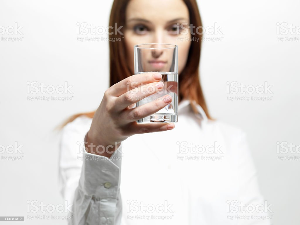 woman with a glass stock photo