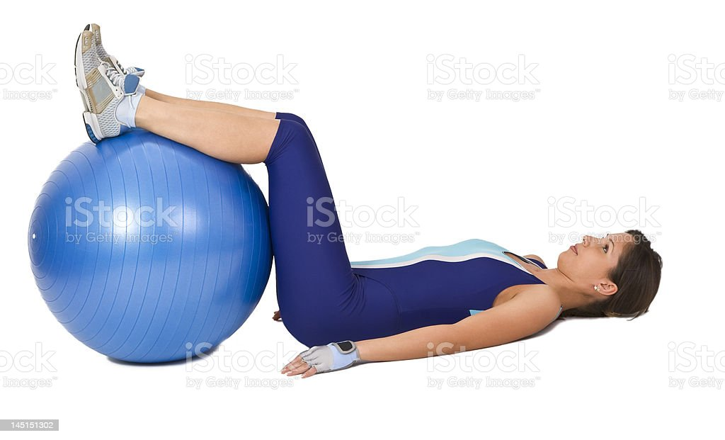 Woman with a gym ball royalty-free stock photo