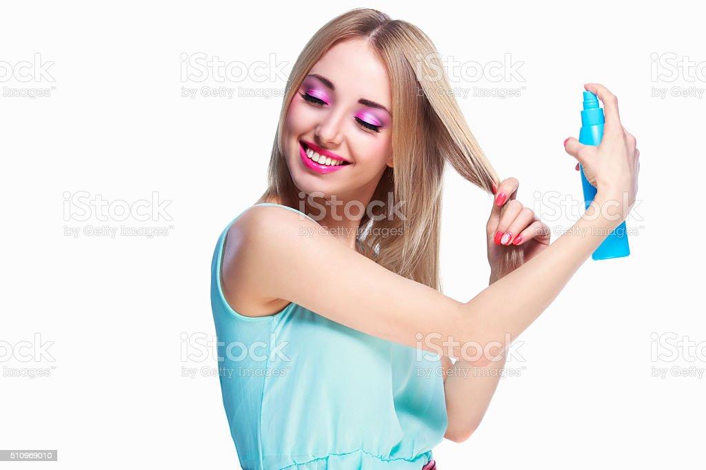 woman with a hair spray stock photo