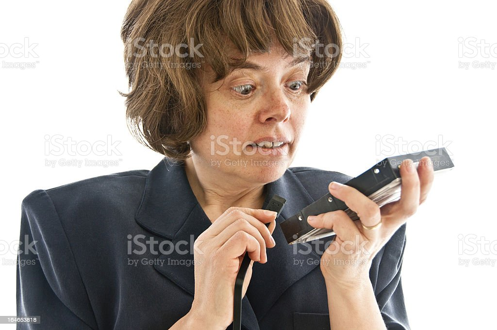 Woman with a hard drive and SATA cable royalty-free stock photo