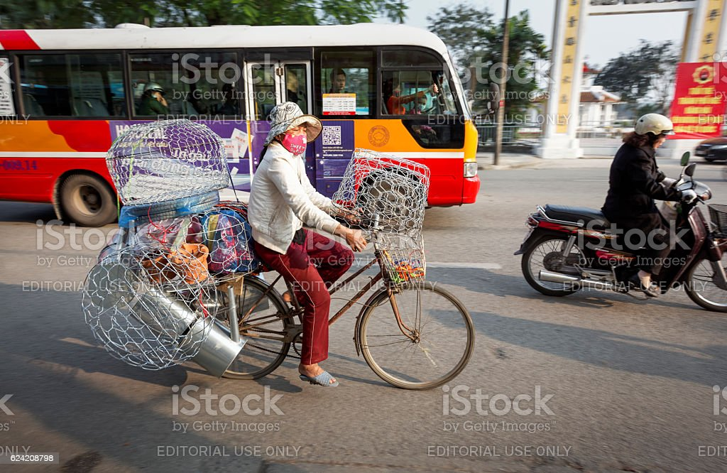 Woman with a hardware shop on a bike stock photo