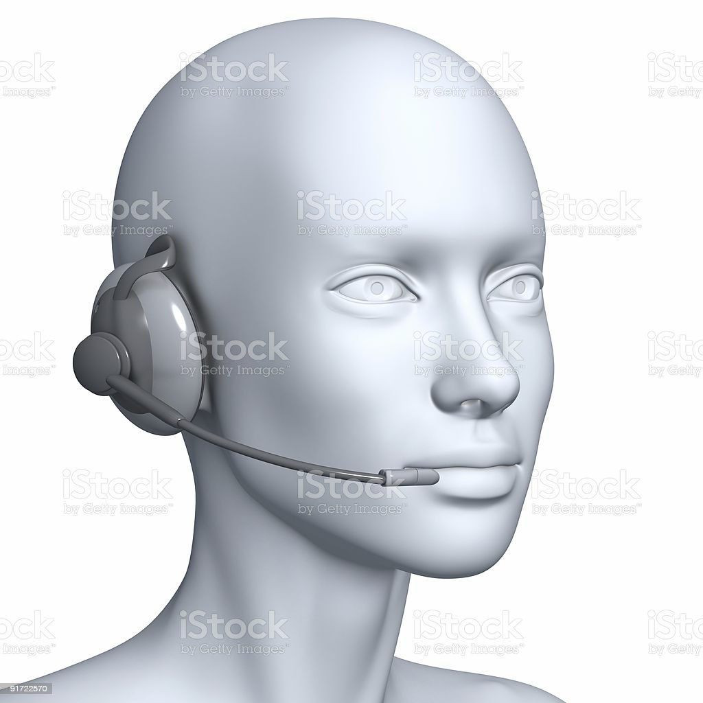 3D woman with a headset royalty-free stock photo