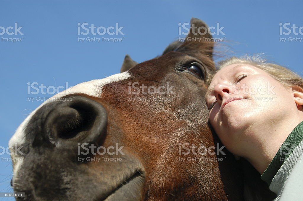 Woman with a Horse Selfie, Alternative Medicine Therapy stock photo