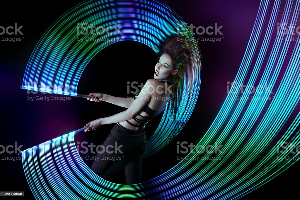 Woman with a iroquois on his head stock photo