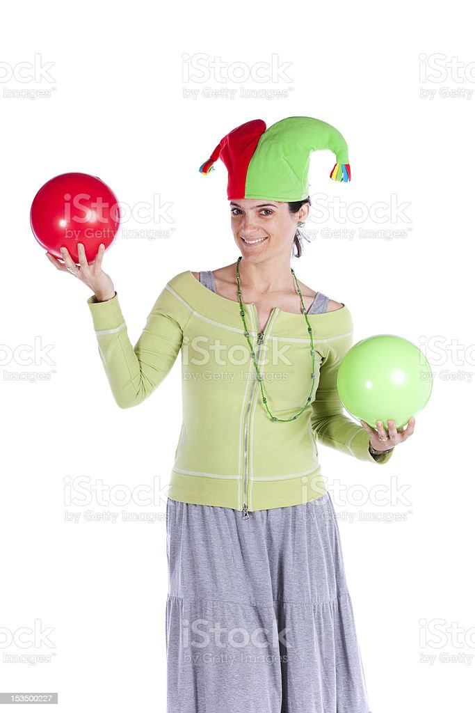 Woman with a joker hat stock photo