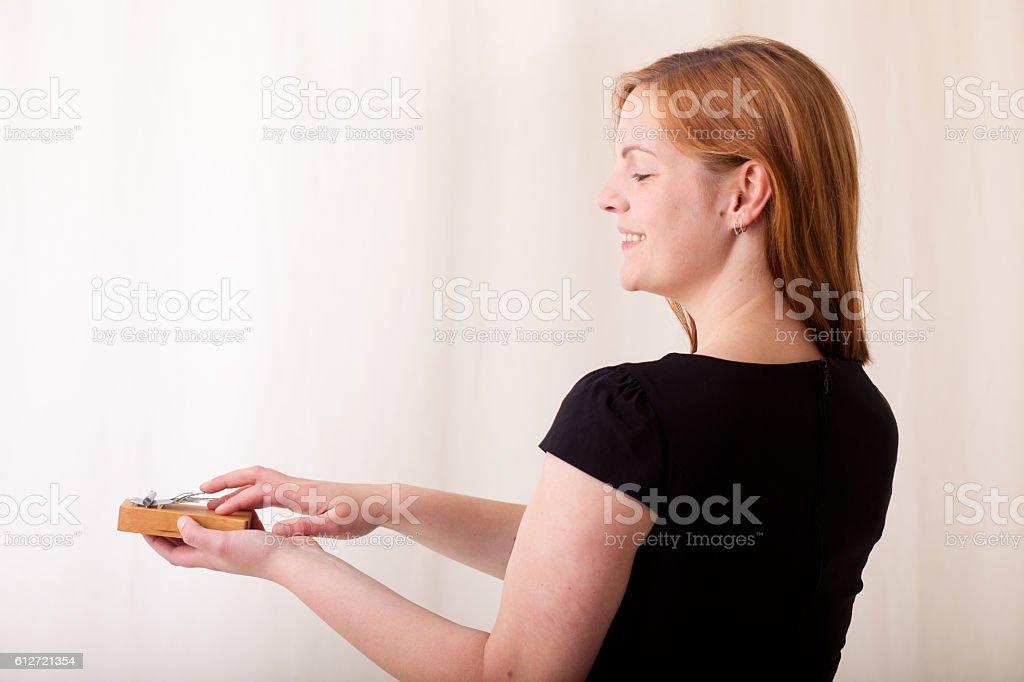 Woman with a Kalimba stock photo