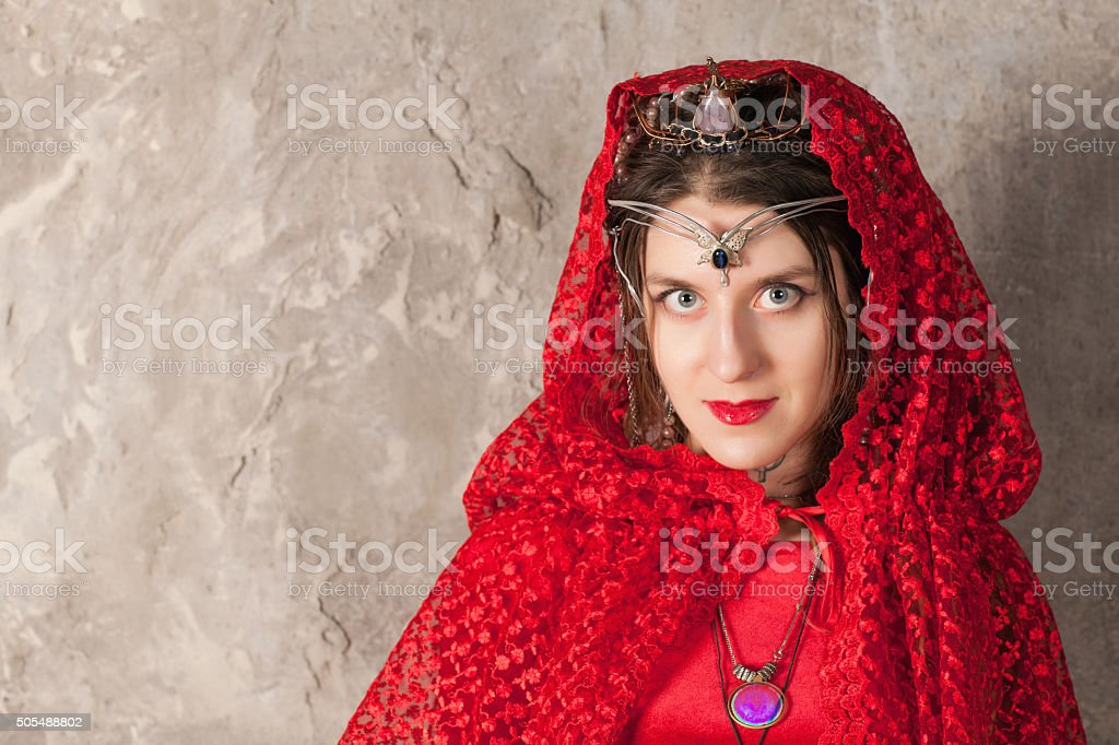 Woman with a kerchief on her head stock photo