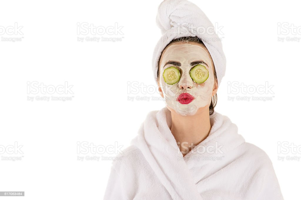 woman with a mask on the face wellness stock photo