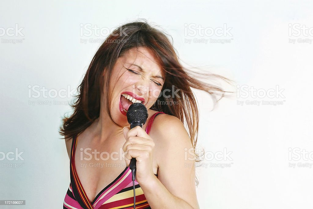 Woman with a microphone royalty-free stock photo