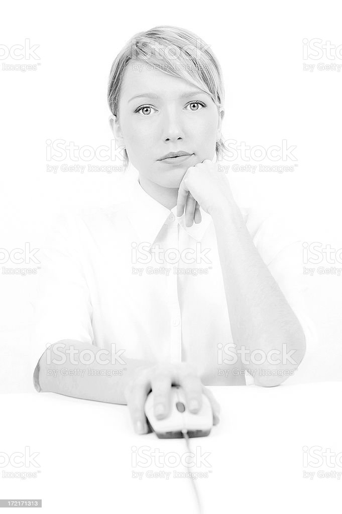 Woman with a mouse 1 royalty-free stock photo