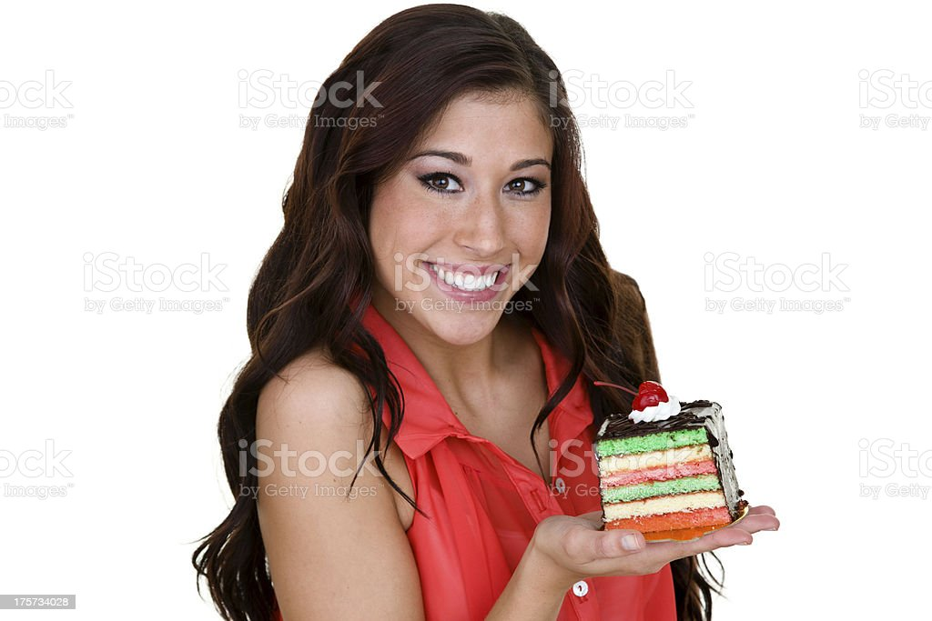 Woman with a piece of cake royalty-free stock photo