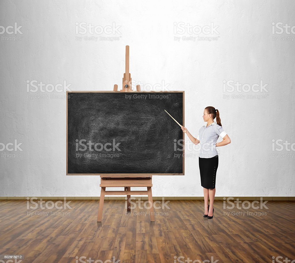 woman  with a pointer stock photo
