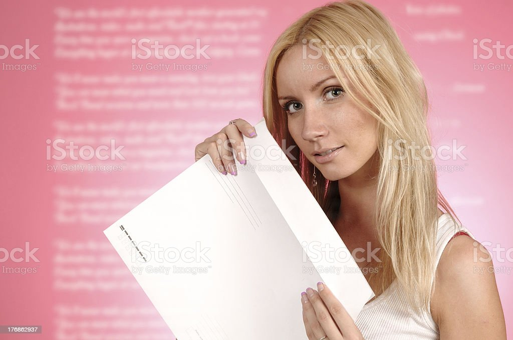woman with a postal envelope royalty-free stock photo
