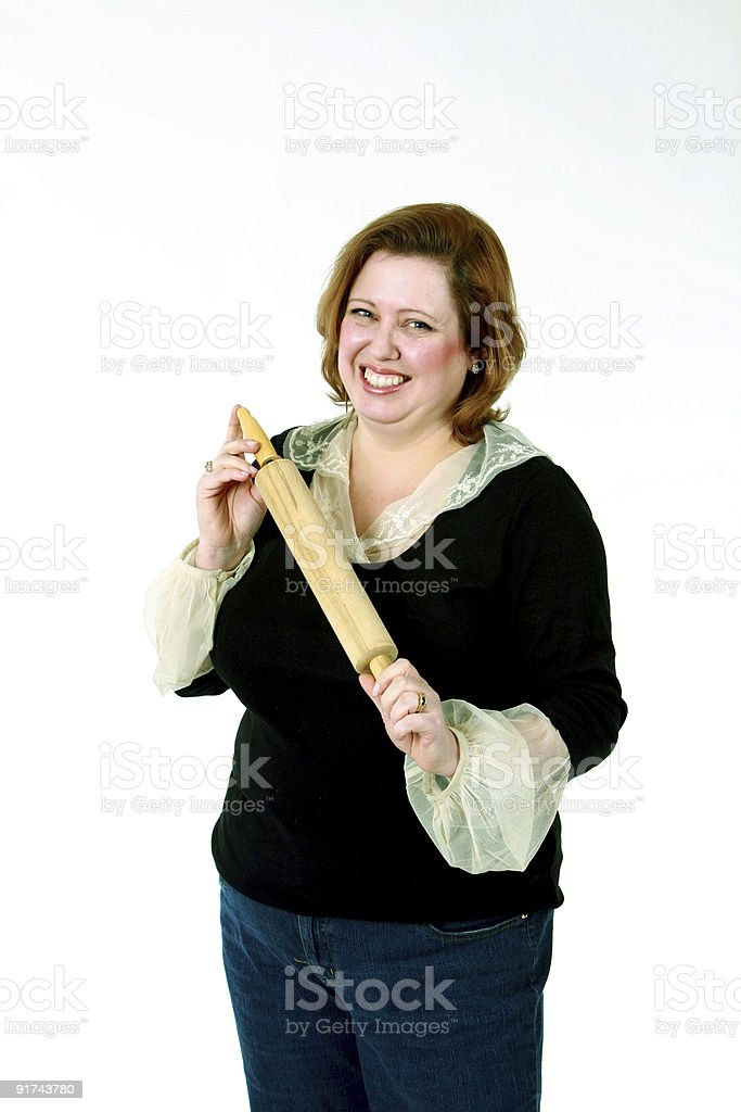 woman with a rolling pin royalty-free stock photo