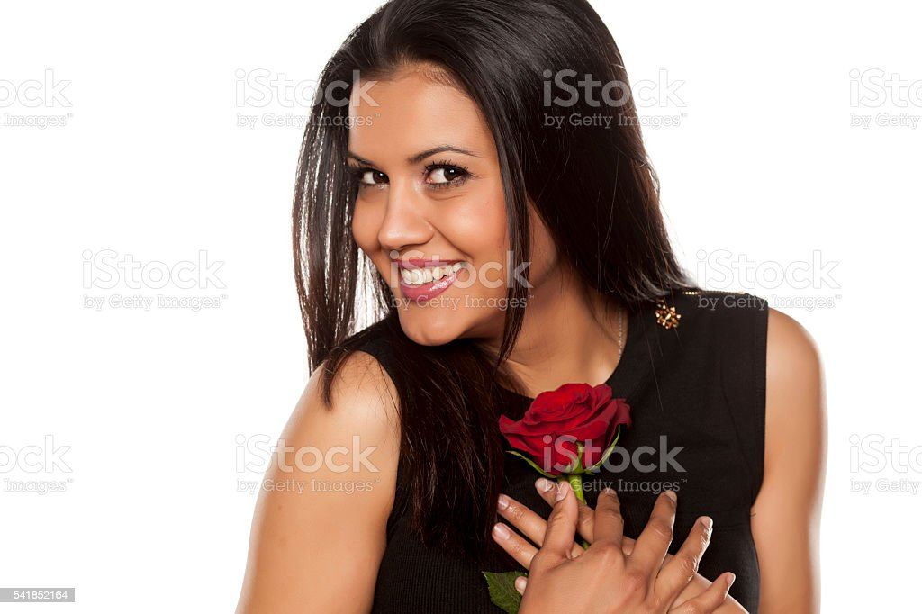 woman with a rose stock photo