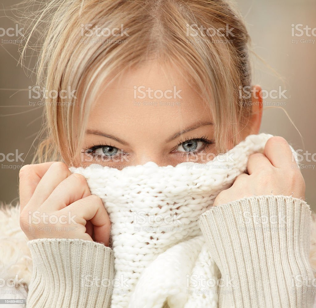 Woman with a scarf. stock photo