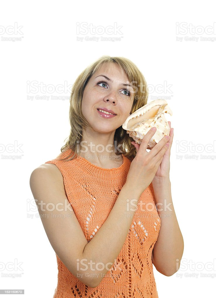 woman with a sea shell royalty-free stock photo