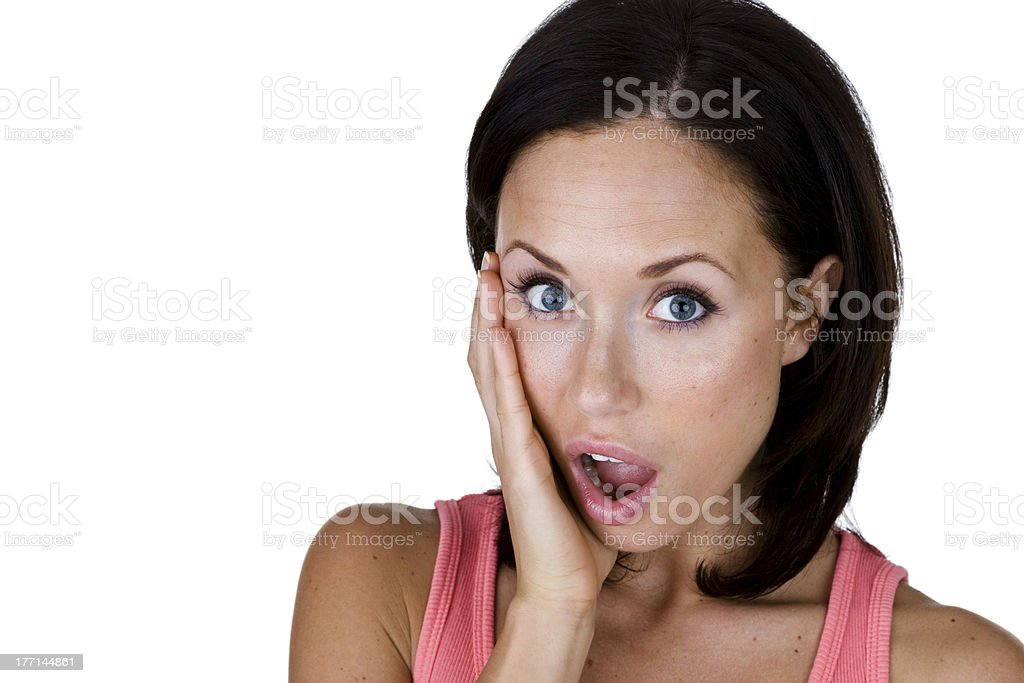 Woman with a shocked expression royalty-free stock photo