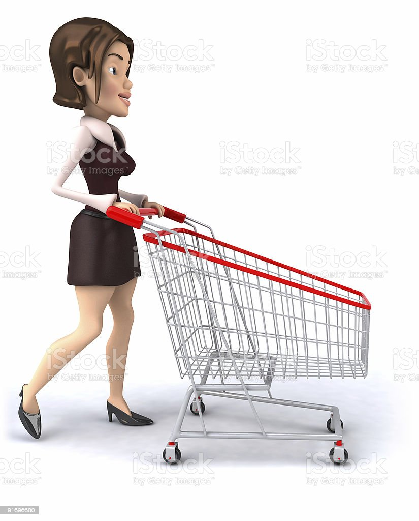 Woman with a shopping cart royalty-free stock photo