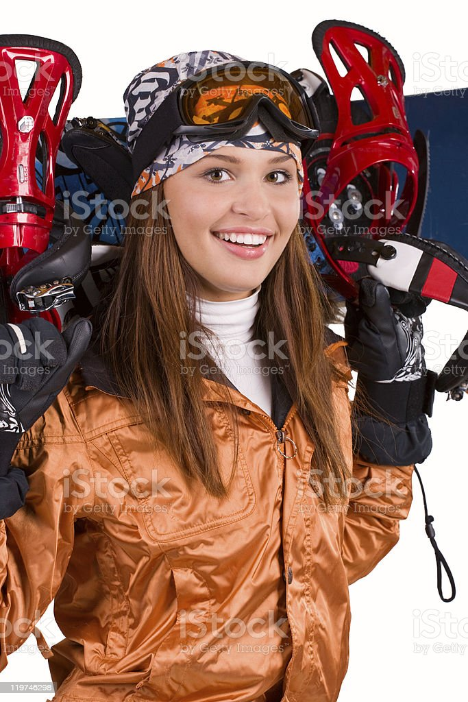 Woman with a snowboard isolated on white royalty-free stock photo