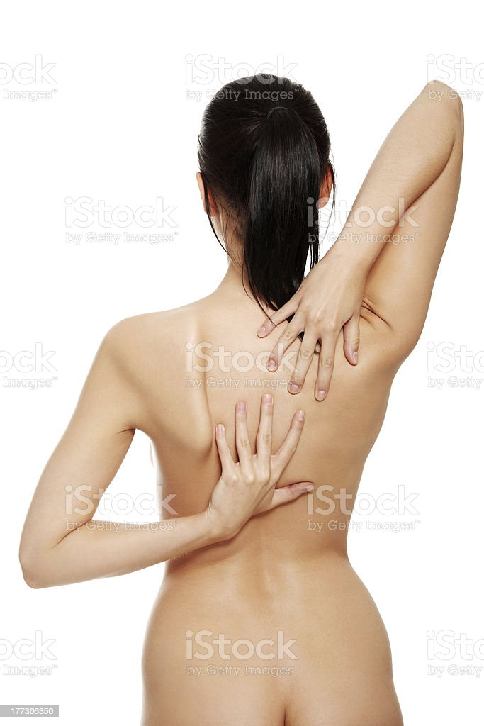 Woman with a sore back royalty-free stock photo