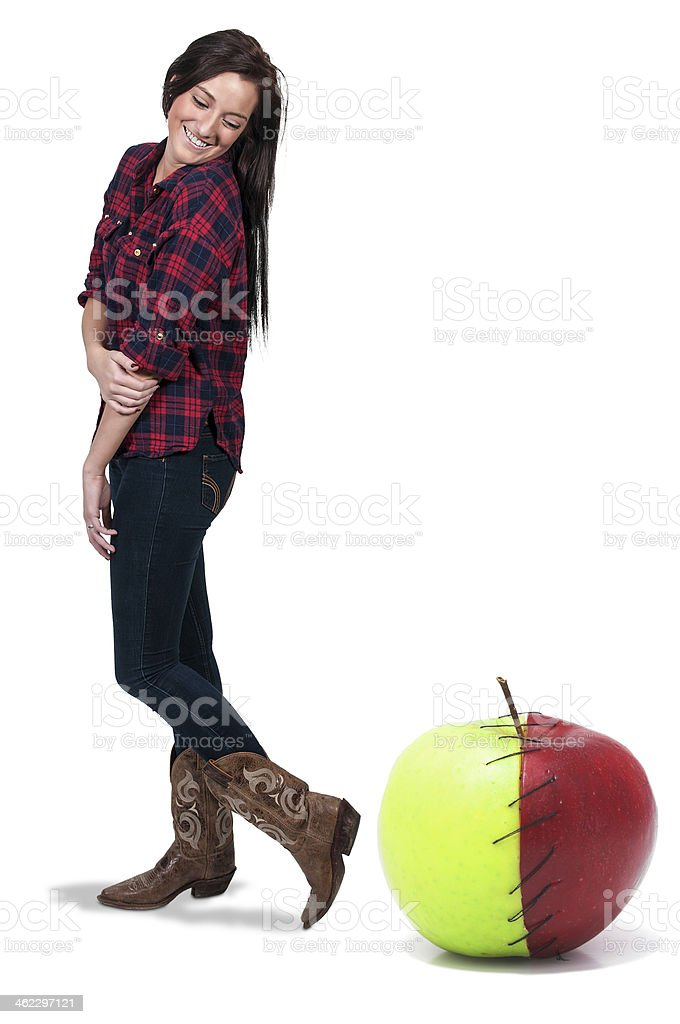 Woman with a Stitched Apple stock photo