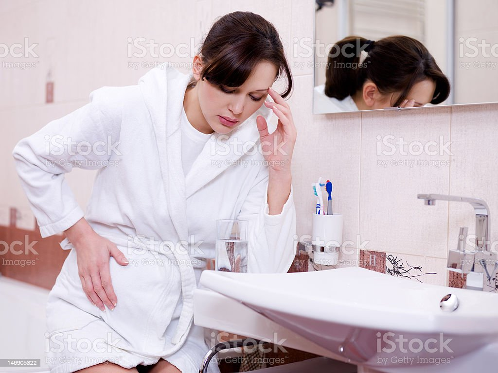 woman with a strong toxicosis stock photo