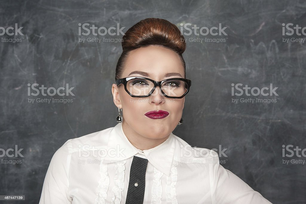 Woman with a suspicious expression stock photo