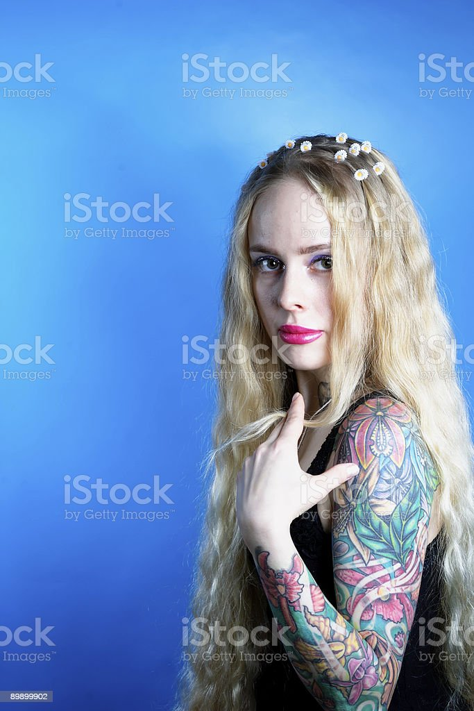 Woman with a tattoo stock photo
