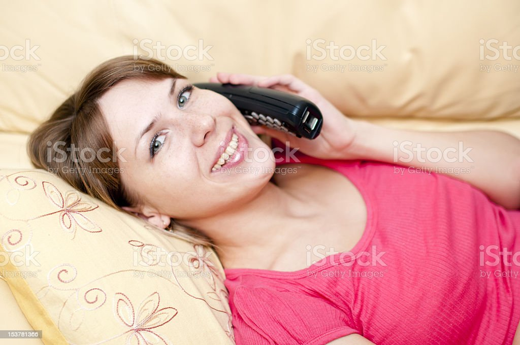 woman with a telephone royalty-free stock photo