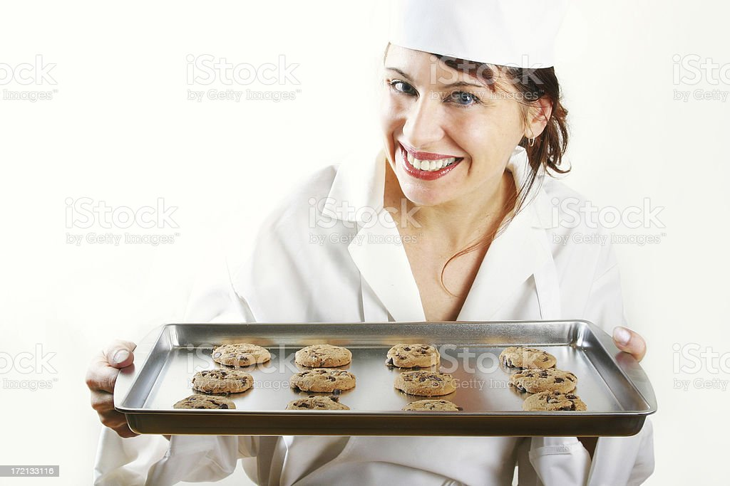 Woman with a tray of baking royalty-free stock photo