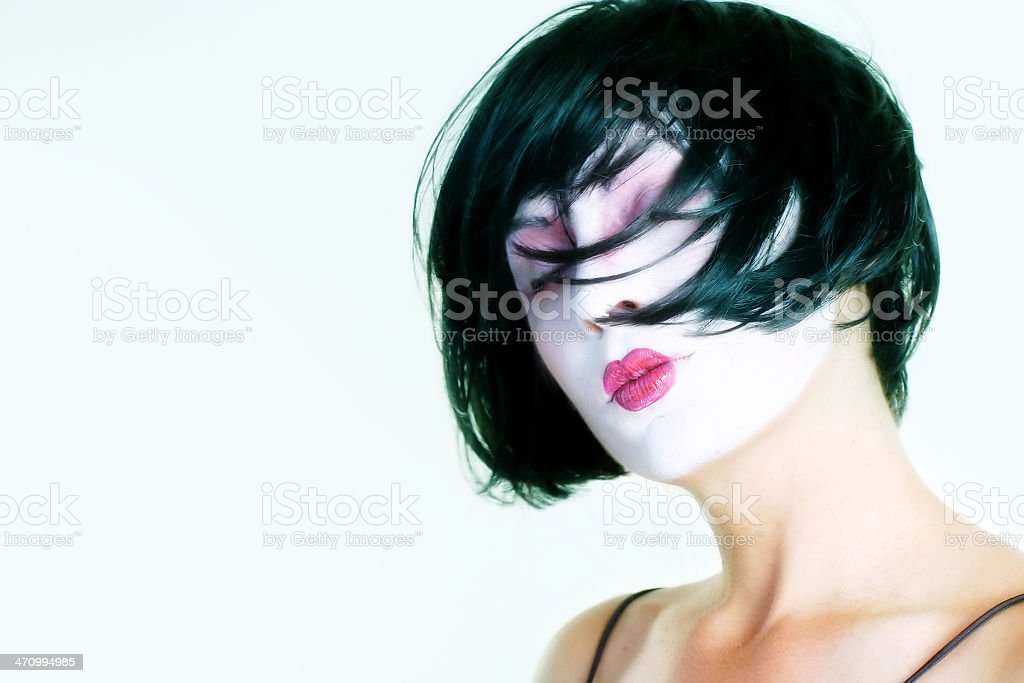 woman with a white face paint II royalty-free stock photo