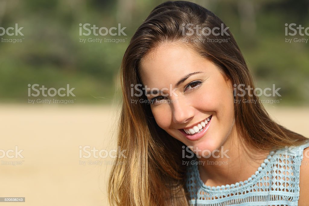 Woman with a white teeth smiling stock photo