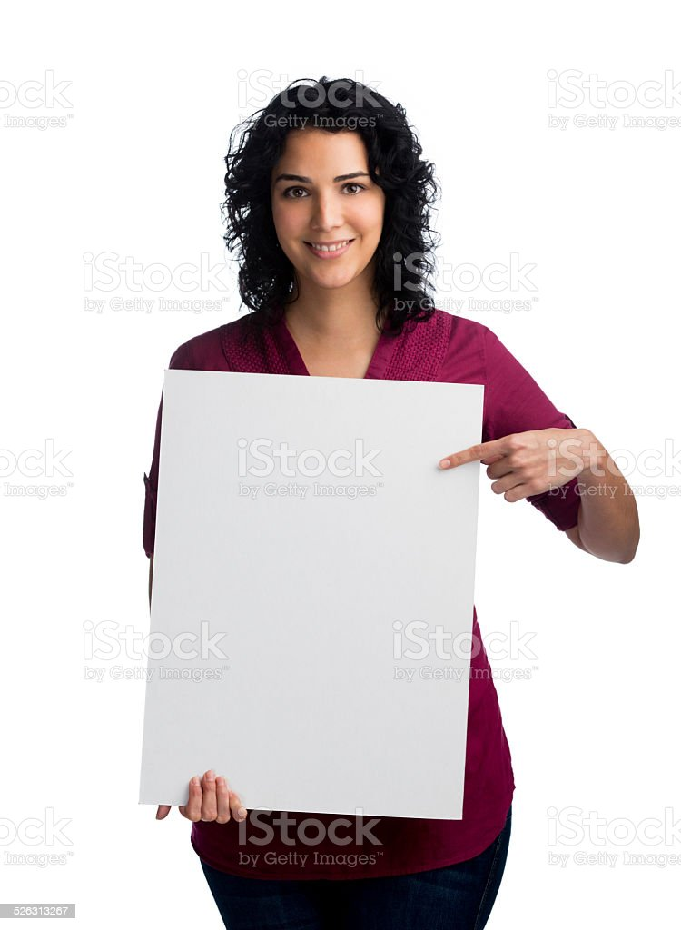 Woman with a whiteboard stock photo