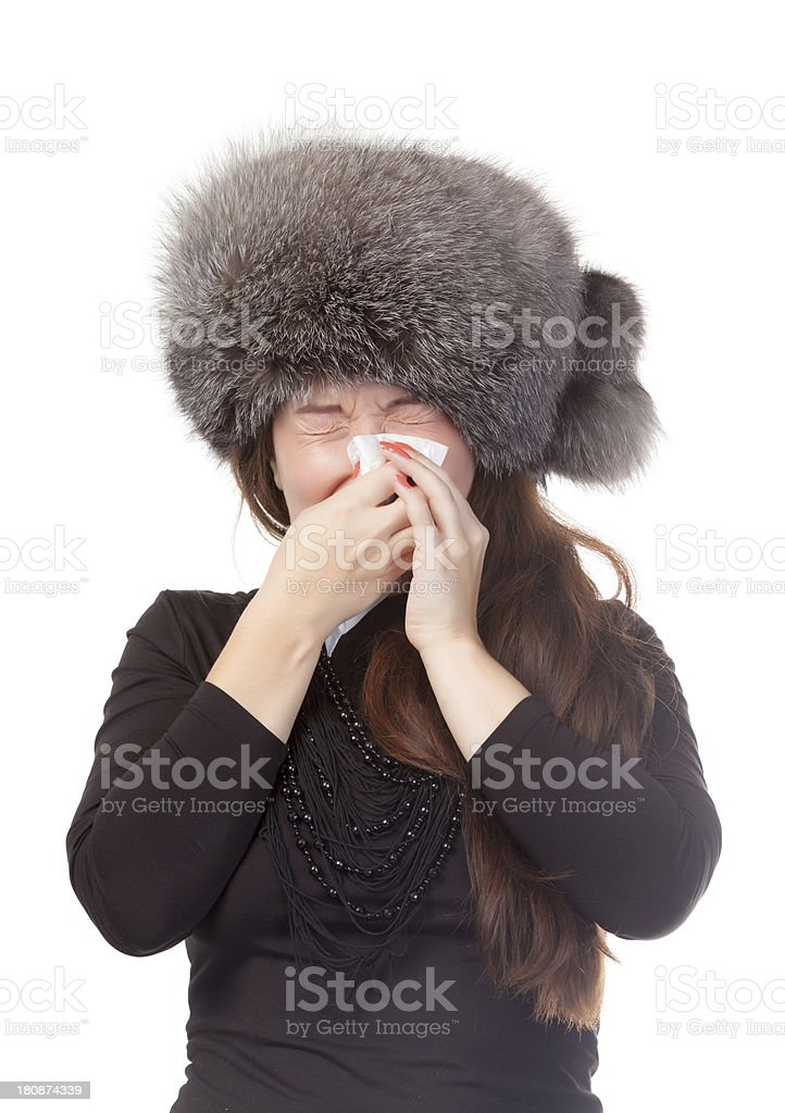 Woman with a winter cold and flu royalty-free stock photo