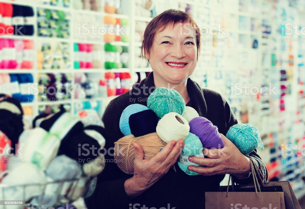 Woman with accessories for needlework stock photo