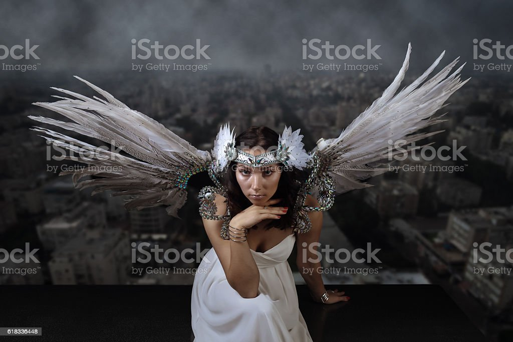 woman with angel wings stock photo