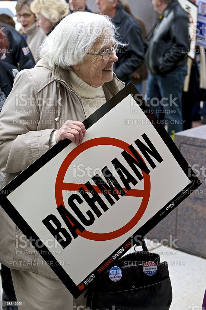 Woman With Anti-Bachmann Sign stock photo