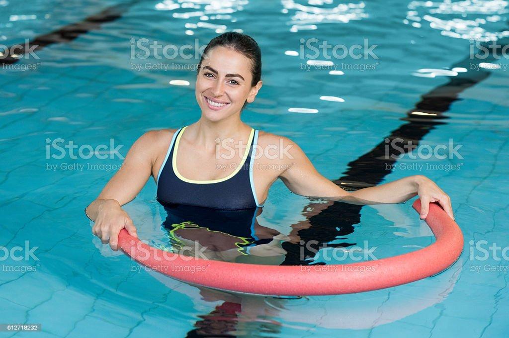 Woman with aqua tube stock photo