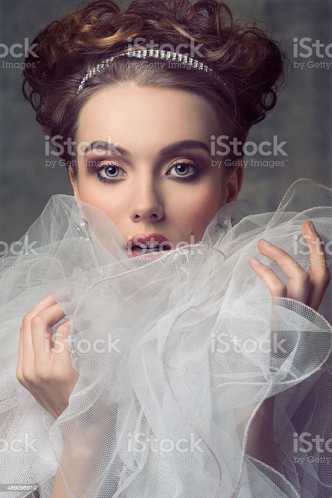 woman with aristocratic romantic style stock photo
