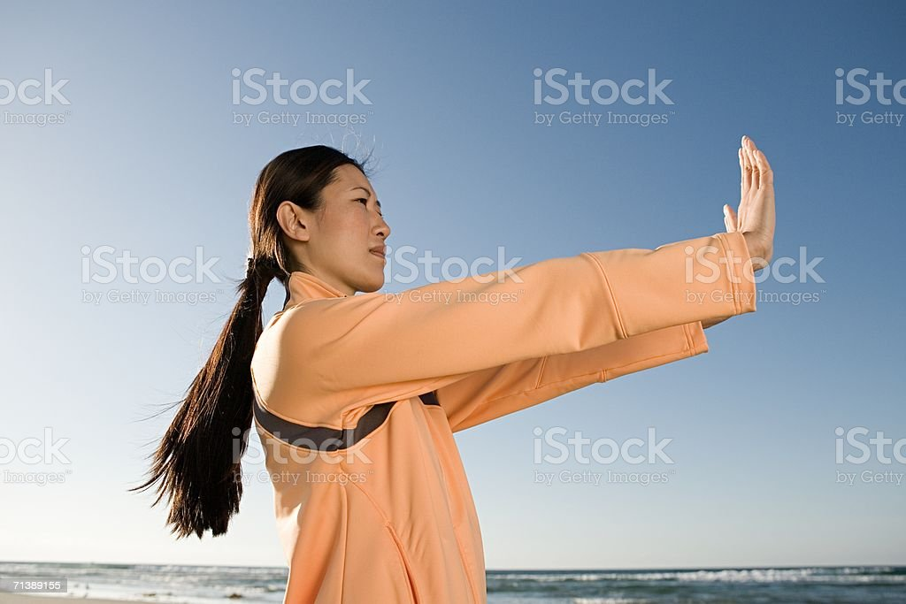 Woman with arms outstretched royalty-free stock photo