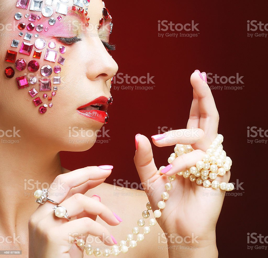 woman with artistic make-up. Luxury image. stock photo