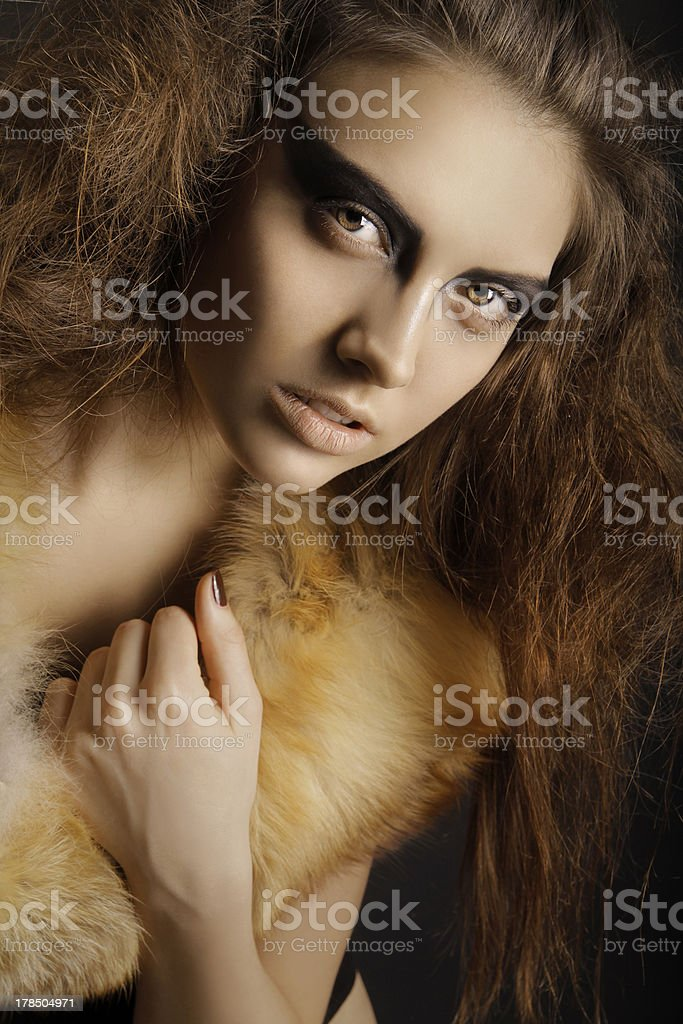 Woman with artistic make-up stock photo