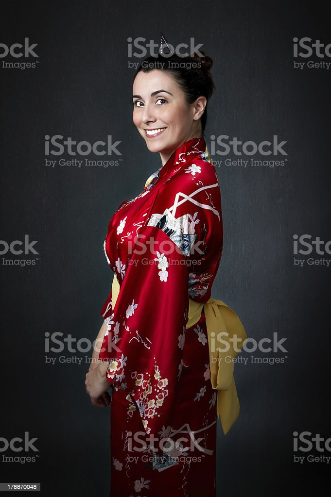 woman with asian traditional dress royalty-free stock photo
