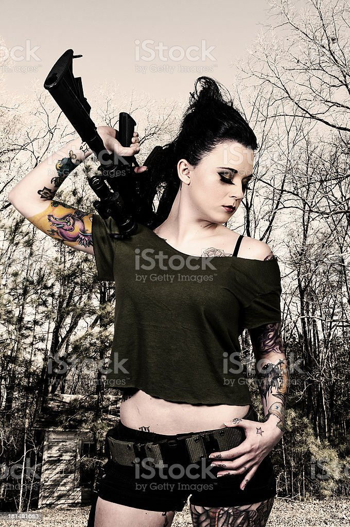 Woman with Assault Rifle royalty-free stock photo