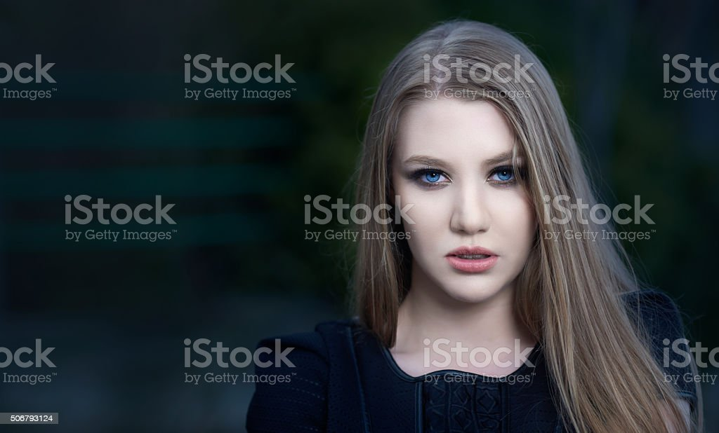 woman with attitude posing in the city stock photo