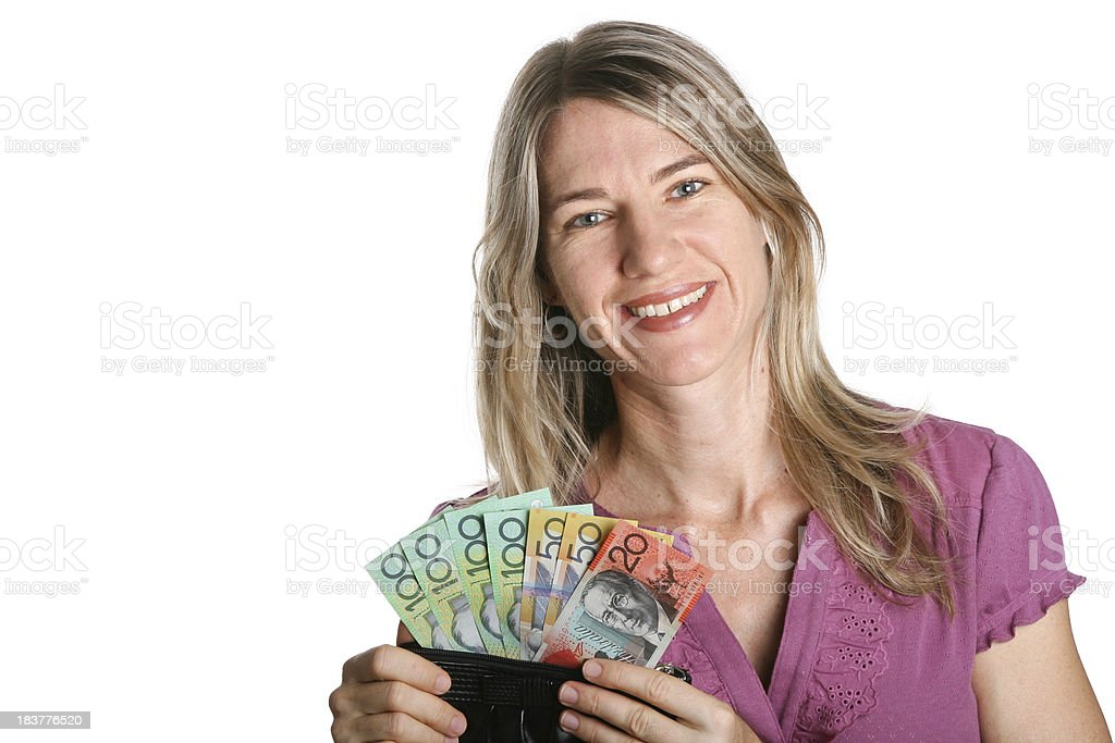 Woman with Australian Money in purse on white background royalty-free stock photo
