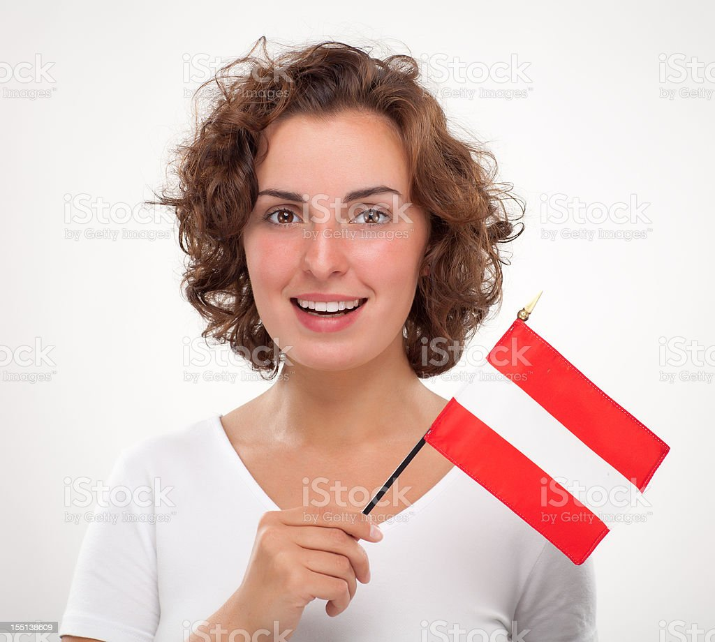 Woman with Austrian flag royalty-free stock photo